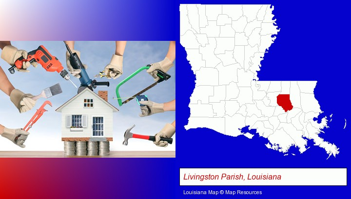 home improvement concepts and tools; Livingston Parish, Louisiana highlighted in red on a map