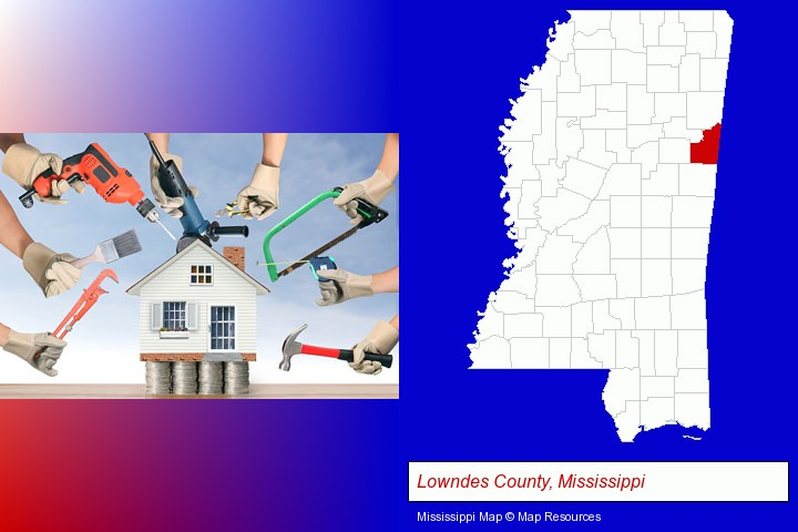home improvement concepts and tools; Lowndes County, Mississippi highlighted in red on a map