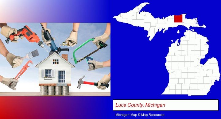 home improvement concepts and tools; Luce County, Michigan highlighted in red on a map