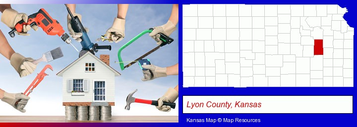 home improvement concepts and tools; Lyon County, Kansas highlighted in red on a map