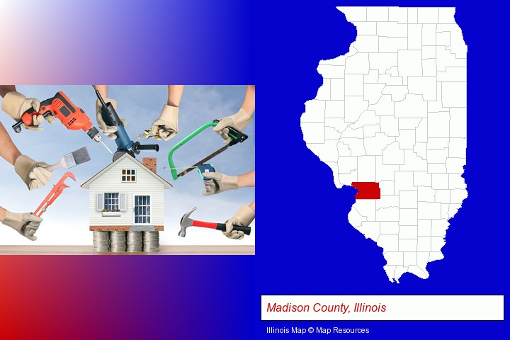 home improvement concepts and tools; Madison County, Illinois highlighted in red on a map