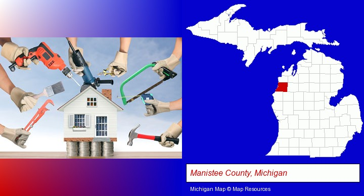 home improvement concepts and tools; Manistee County, Michigan highlighted in red on a map