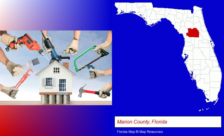 home improvement concepts and tools; Marion County, Florida highlighted in red on a map