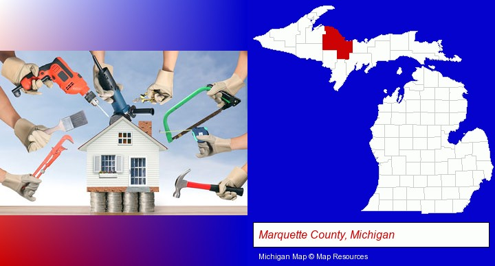 home improvement concepts and tools; Marquette County, Michigan highlighted in red on a map