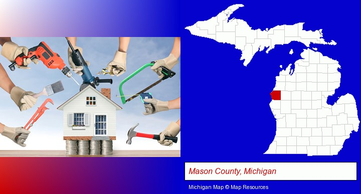 home improvement concepts and tools; Mason County, Michigan highlighted in red on a map