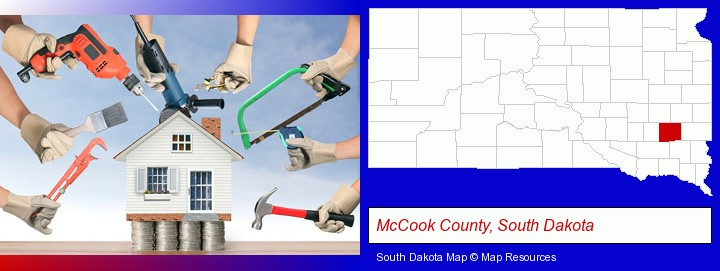 home improvement concepts and tools; McCook County, South Dakota highlighted in red on a map