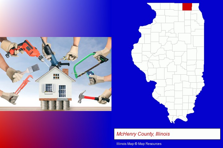 home improvement concepts and tools; McHenry County, Illinois highlighted in red on a map