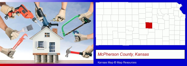 home improvement concepts and tools; McPherson County, Kansas highlighted in red on a map