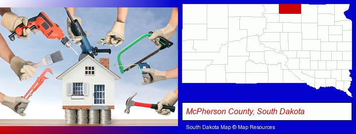 home improvement concepts and tools; McPherson County, South Dakota highlighted in red on a map