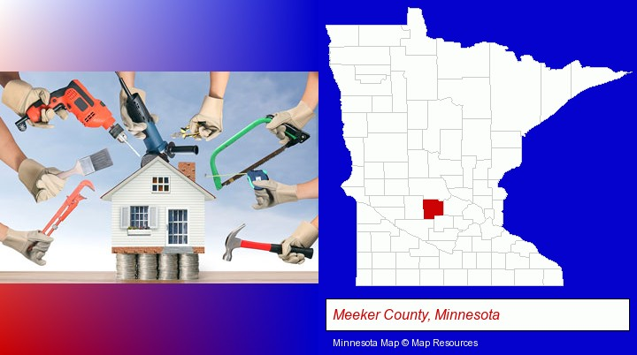home improvement concepts and tools; Meeker County, Minnesota highlighted in red on a map