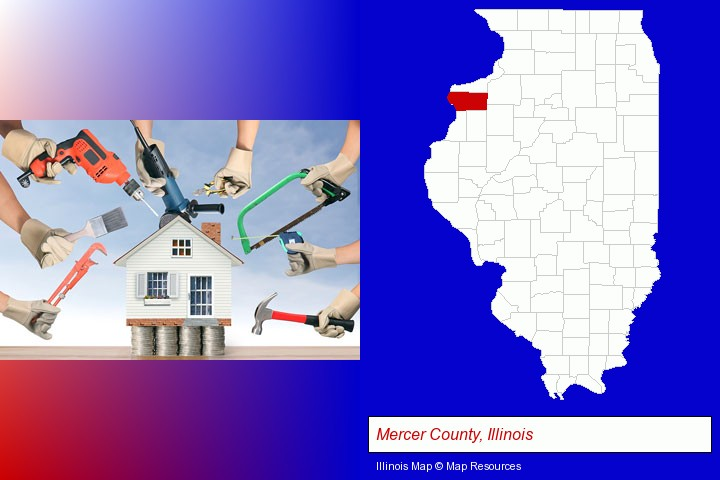home improvement concepts and tools; Mercer County, Illinois highlighted in red on a map