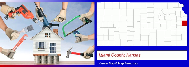 home improvement concepts and tools; Miami County, Kansas highlighted in red on a map
