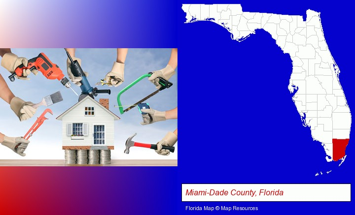 home improvement concepts and tools; Miami-Dade County, Florida highlighted in red on a map