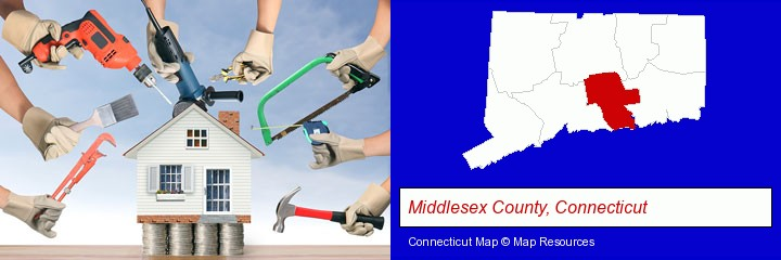 home improvement concepts and tools; Middlesex County, Connecticut highlighted in red on a map