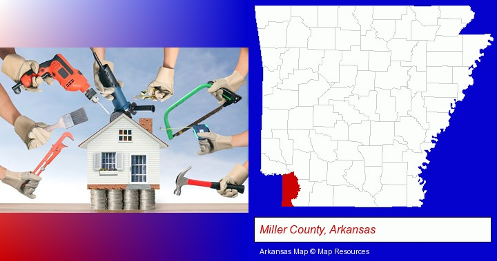 home improvement concepts and tools; Miller County, Arkansas highlighted in red on a map