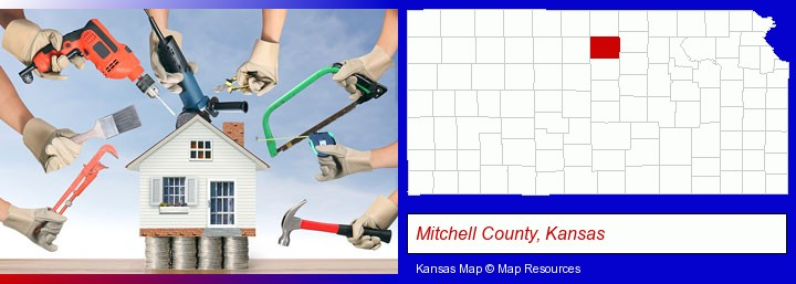 home improvement concepts and tools; Mitchell County, Kansas highlighted in red on a map