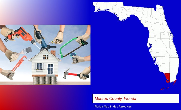 home improvement concepts and tools; Monroe County, Florida highlighted in red on a map