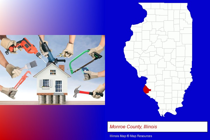 home improvement concepts and tools; Monroe County, Illinois highlighted in red on a map