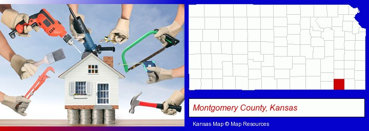 home improvement concepts and tools; Montgomery County, Kansas highlighted in red on a map