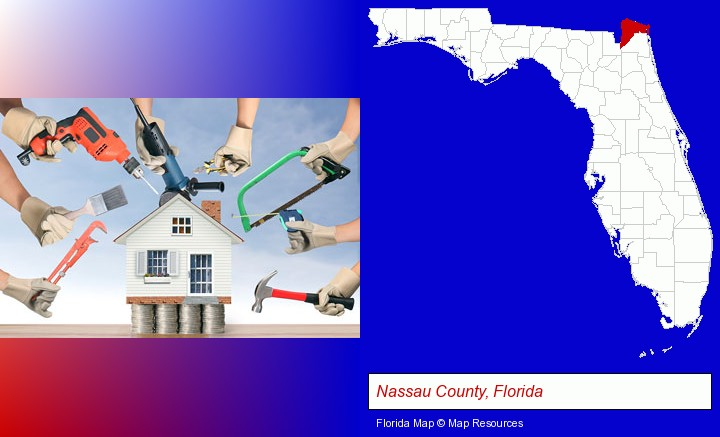 home improvement concepts and tools; Nassau County, Florida highlighted in red on a map