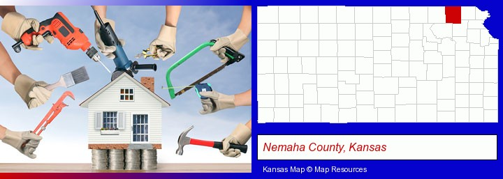 home improvement concepts and tools; Nemaha County, Kansas highlighted in red on a map