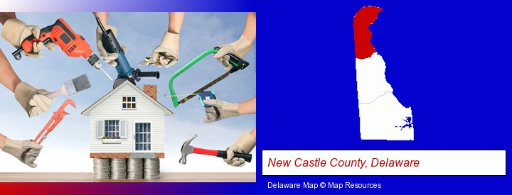 home improvement concepts and tools; New Castle County, Delaware highlighted in red on a map