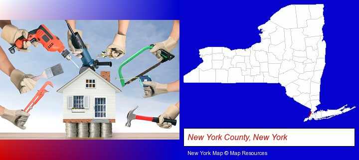home improvement concepts and tools; New York County, New York highlighted in red on a map