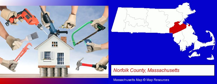 home improvement concepts and tools; Norfolk County, Massachusetts highlighted in red on a map