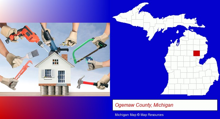 home improvement concepts and tools; Ogemaw County, Michigan highlighted in red on a map