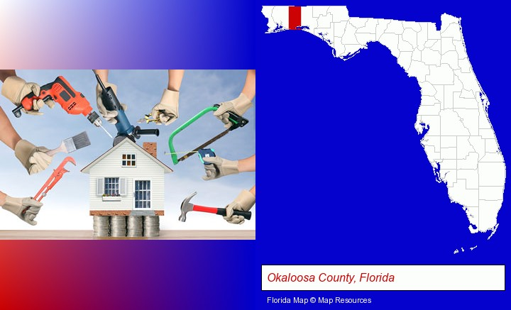 home improvement concepts and tools; Okaloosa County, Florida highlighted in red on a map
