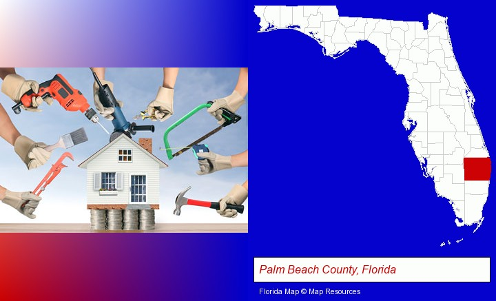 home improvement concepts and tools; Palm Beach County, Florida highlighted in red on a map