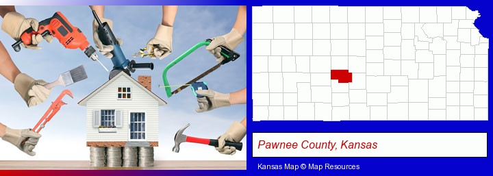 home improvement concepts and tools; Pawnee County, Kansas highlighted in red on a map