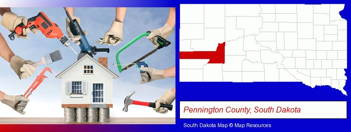 home improvement concepts and tools; Pennington County, South Dakota highlighted in red on a map