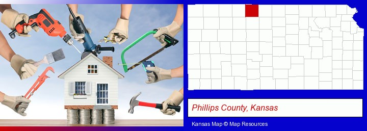 home improvement concepts and tools; Phillips County, Kansas highlighted in red on a map