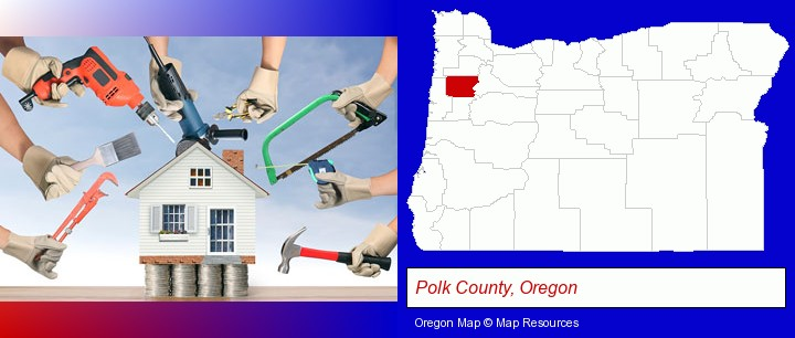 home improvement concepts and tools; Polk County, Oregon highlighted in red on a map