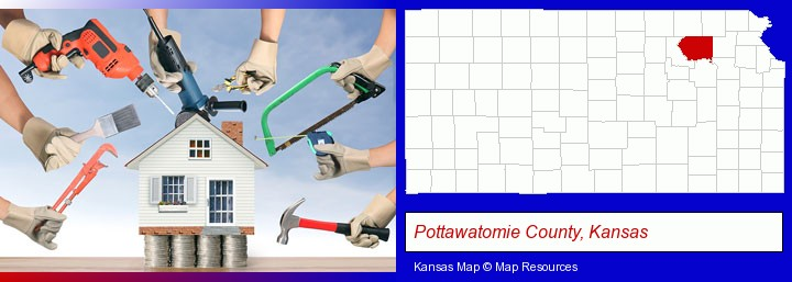 home improvement concepts and tools; Pottawatomie County, Kansas highlighted in red on a map