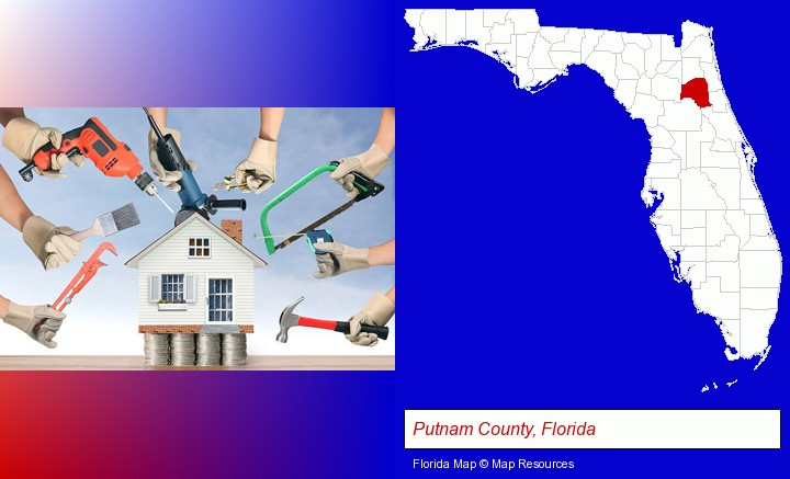 home improvement concepts and tools; Putnam County, Florida highlighted in red on a map