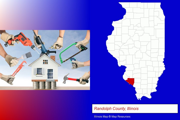 home improvement concepts and tools; Randolph County, Illinois highlighted in red on a map