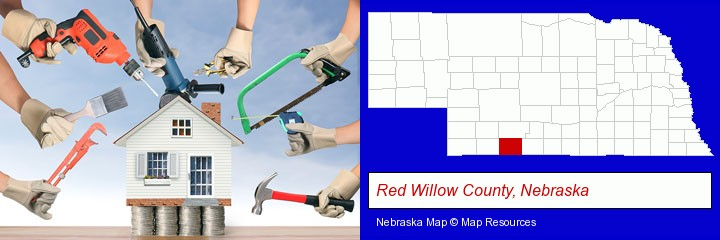 home improvement concepts and tools; Red Willow County, Nebraska highlighted in red on a map