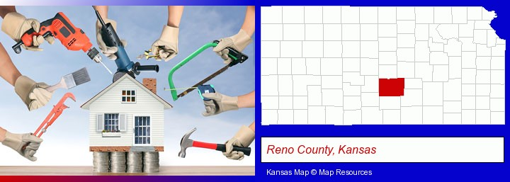 home improvement concepts and tools; Reno County, Kansas highlighted in red on a map