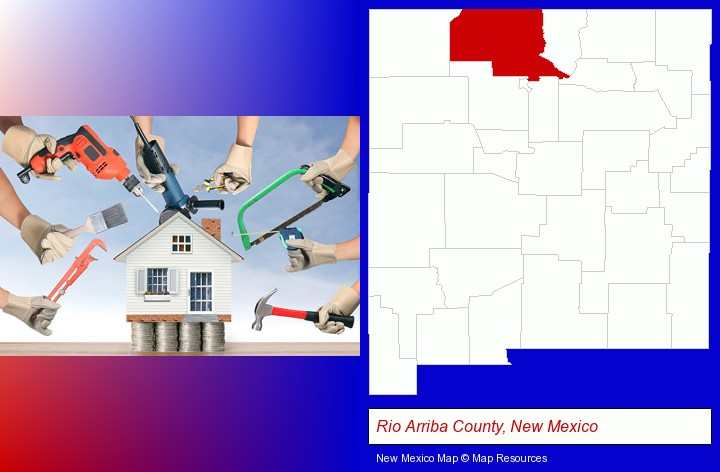 home improvement concepts and tools; Rio Arriba County, New Mexico highlighted in red on a map