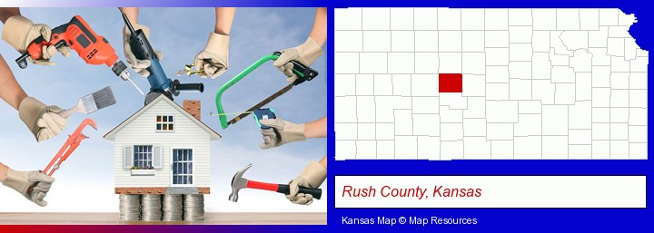 home improvement concepts and tools; Rush County, Kansas highlighted in red on a map