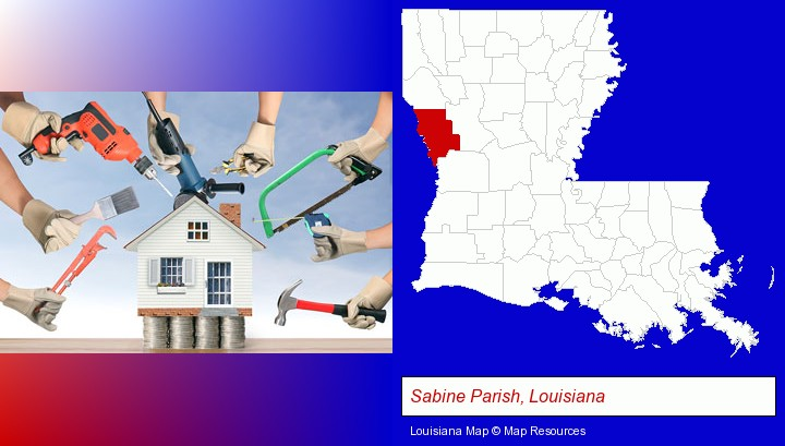 home improvement concepts and tools; Sabine Parish, Louisiana highlighted in red on a map