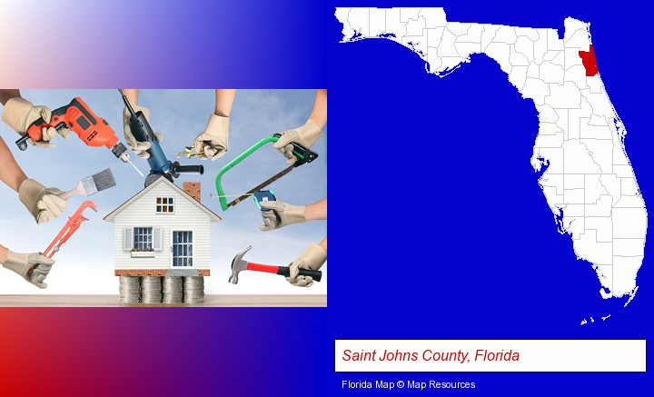 home improvement concepts and tools; Saint Johns County, Florida highlighted in red on a map