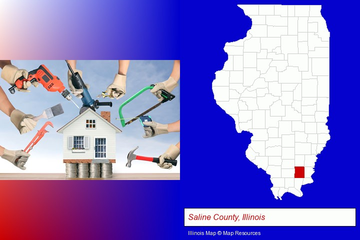 home improvement concepts and tools; Saline County, Illinois highlighted in red on a map