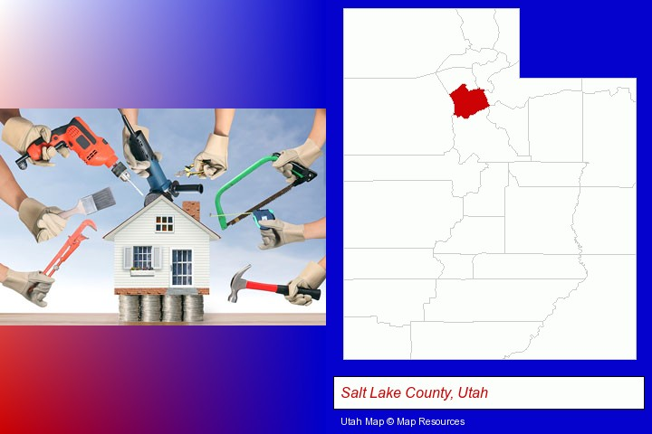 home improvement concepts and tools; Salt Lake County, Utah highlighted in red on a map