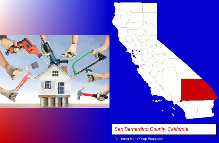 home improvement concepts and tools; San Bernardino County, California highlighted in red on a map