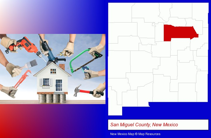 home improvement concepts and tools; San Miguel County, New Mexico highlighted in red on a map