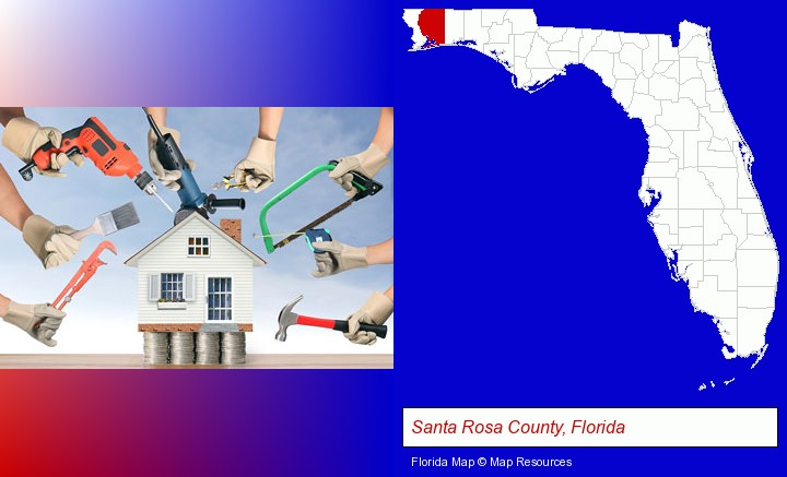 home improvement concepts and tools; Santa Rosa County, Florida highlighted in red on a map