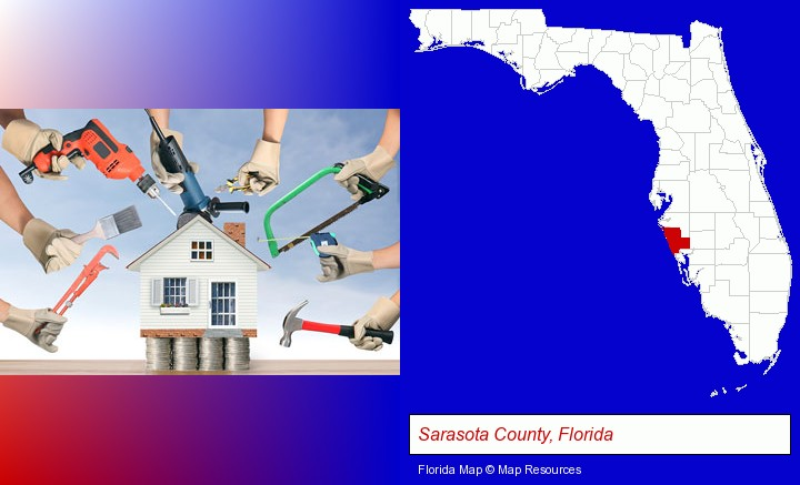 home improvement concepts and tools; Sarasota County, Florida highlighted in red on a map